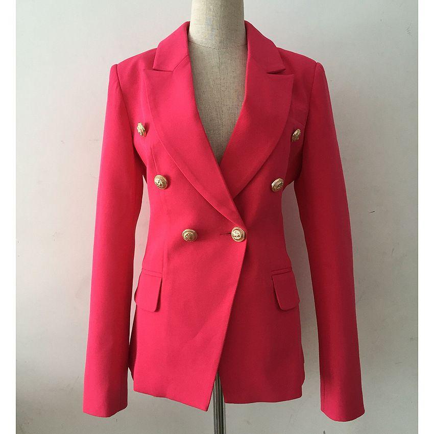 Премиум Новый стиль Высочайшее Качество Оригинальный дизайн Женская Классическая двубортная Блазера Тонкий Куртка Металлические Пряжки Blazer Розовое Красное Смешивание Пальто