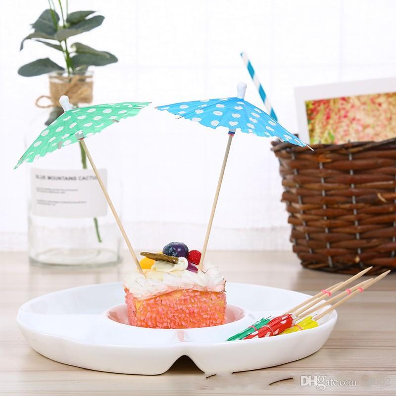Party Sticks Parasol Ombrello Bambini Piccoli Art Stuzzicadenti Carta Floreale Prod Cocktail Decorativo Usa e getta 0 07cy gg