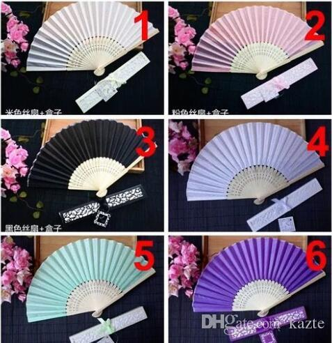 Ventilatori cinesi di seta imitando a mano a buon mercato con scatola fan di nozze in bianco per matrimoni sposa regali ospite 50 pz per pacchetto