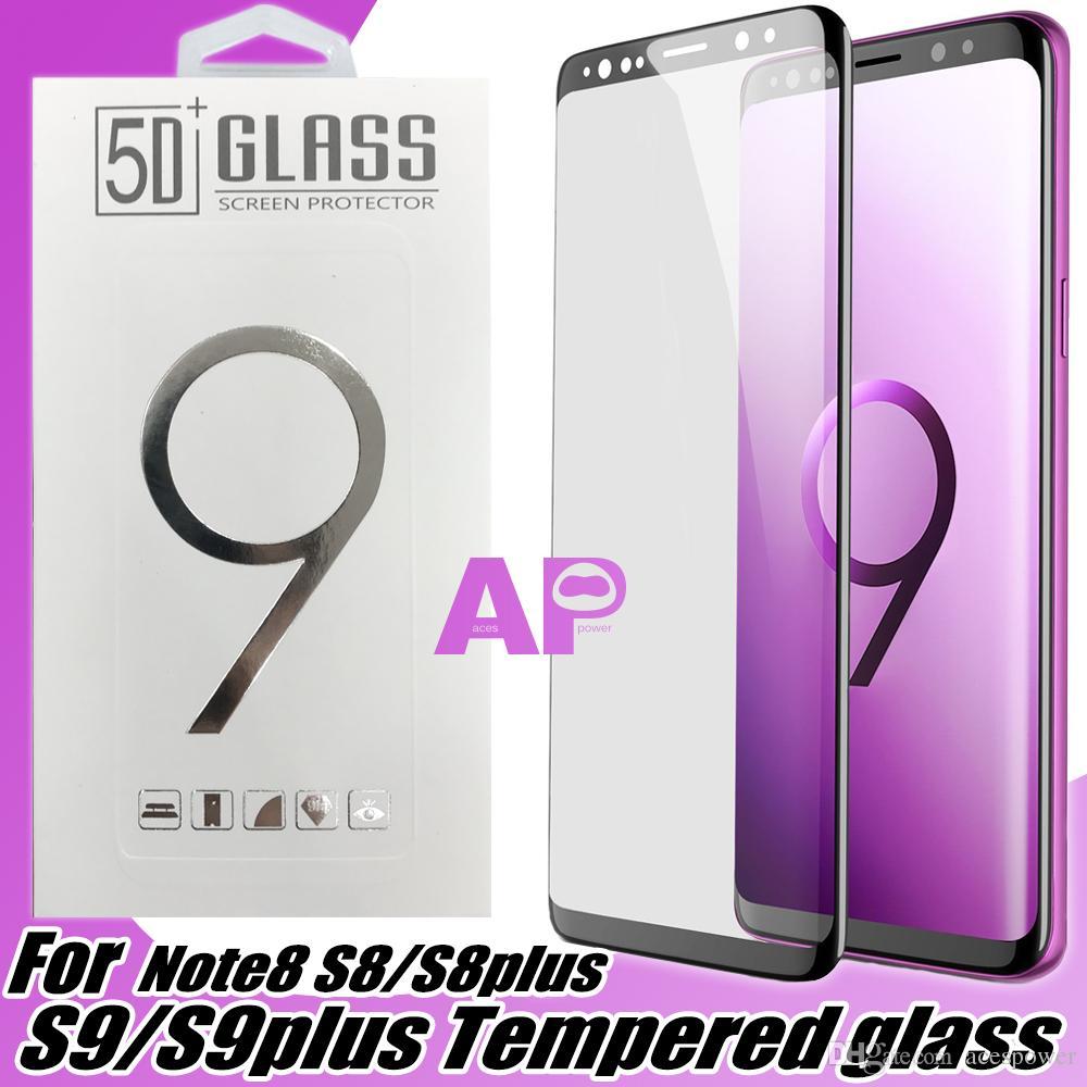 Para Samsung Galaxy Note 20 Ultra S20 PLUS S10 S9 S8 S8 Plus Borda Capa Completa Tela de vidro temperado Protetores de tela com pacote