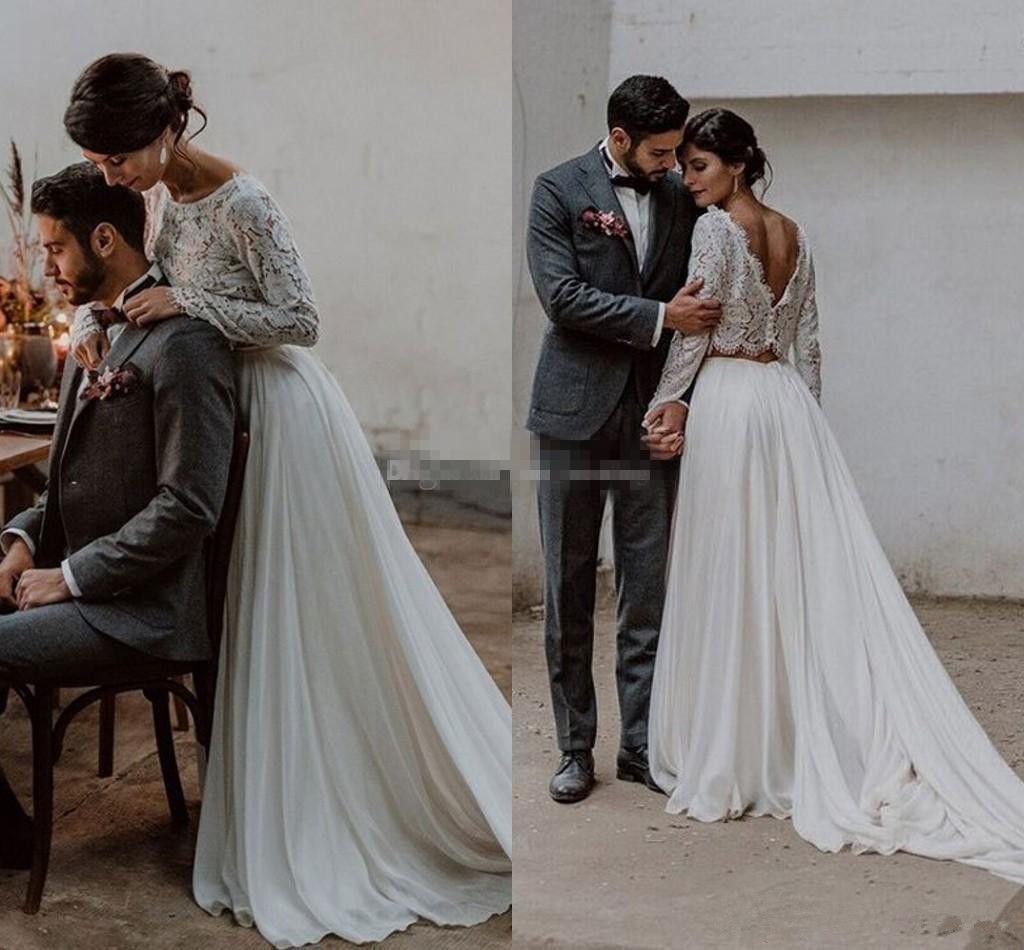 Mangas compridas Lace Chiffon Vestidos de casamento de duas peças Backless Beach Boho vestidos de noiva de verão outono vestidos de casamento Sweep trem