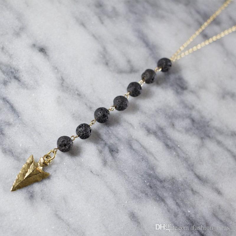 Borla larga Flecha Collar de Piedra de Lava Difusor de Aceite Esencial Collar de Roca Volcánica para Mujeres Joyería