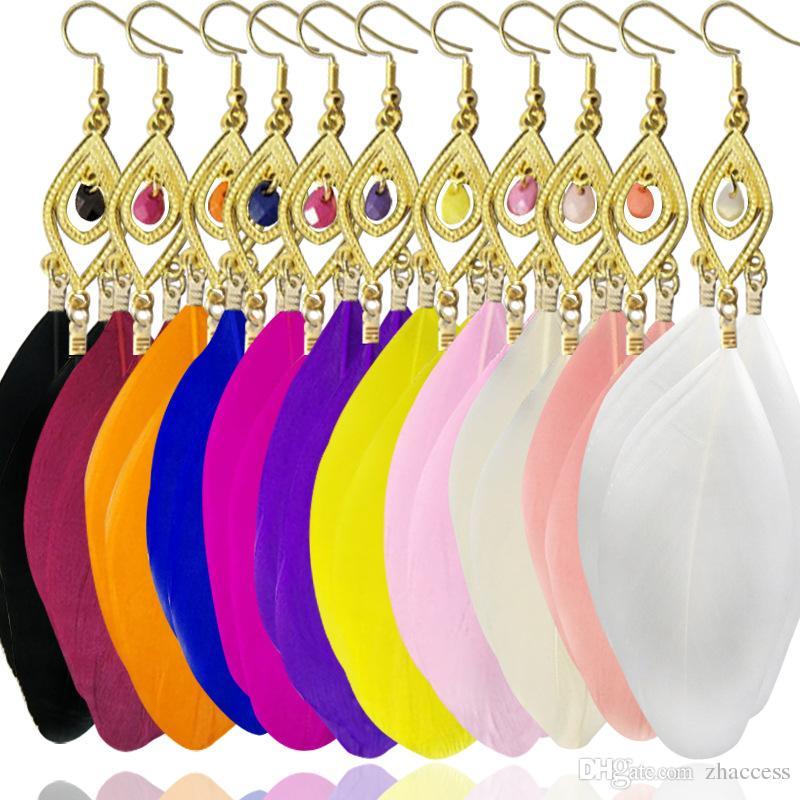 12 Colors Fashion Jewelry Dangle Earrings Long Tassel Leaf Feather Earrings for Women Bohemia Earring Lady's Ethnic