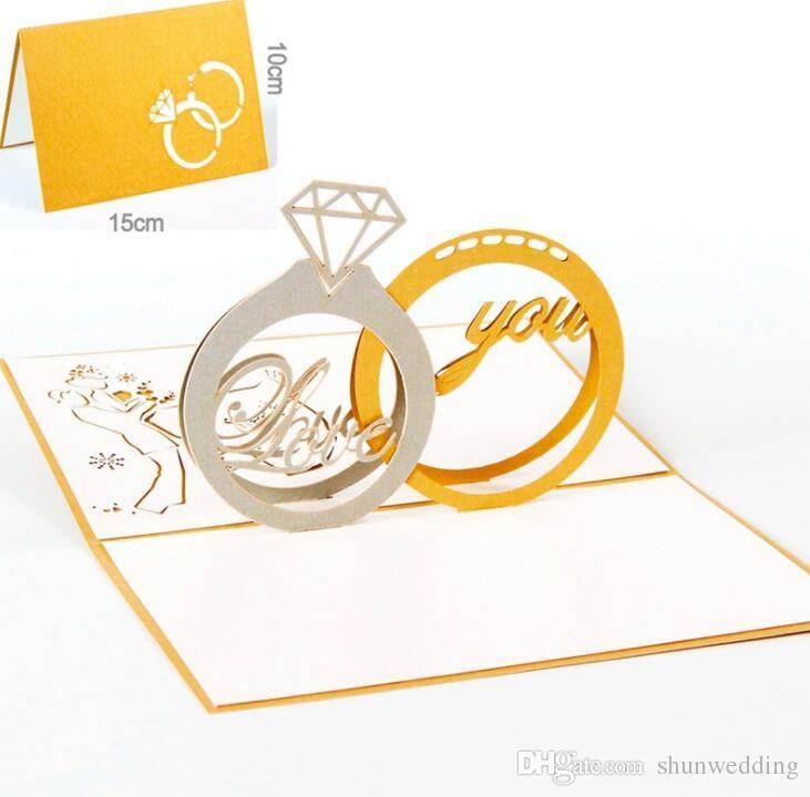 Pop Pop Up Tarjetas de felicitación hecha a mano Anillo de diamante Regalos creativos Tarjetas de felicitación de la boda del día de San Valentín para los amantes