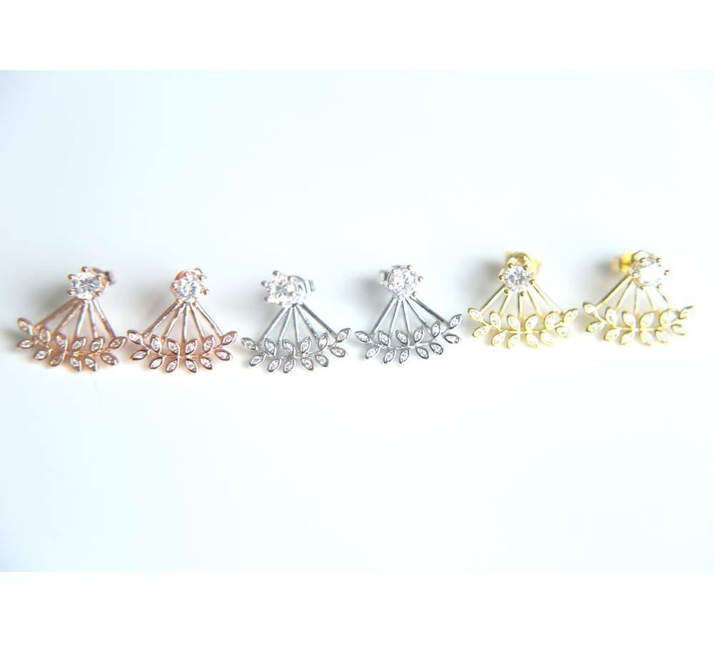 Ear Cuff Rushed 2017 High Polish 3 Colors Fashion Jewelry Promotion Cz Leaf Spring Jacket Clip Women Earring