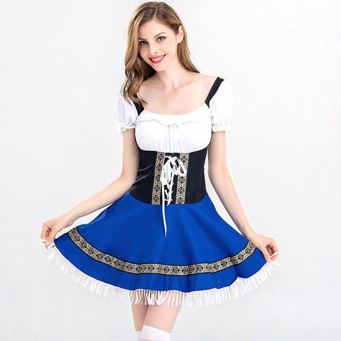 Women Beer Maid Wench German Oktoberfest Costume Plus Size Halloween Party Cosplay Costume Dress