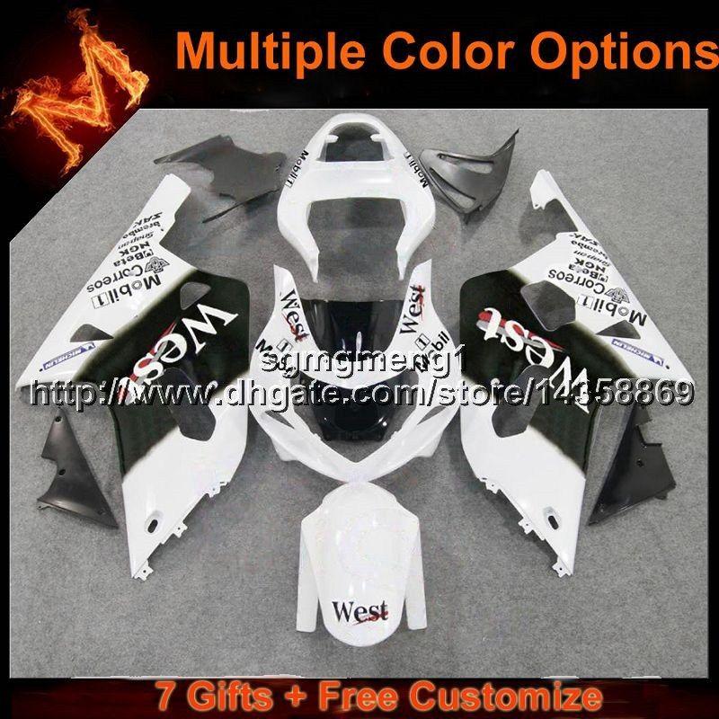 23colors + 8Gifts West White Kit carrozzeria moto per Suzuki GSX-R600750 2001 2002 2003 GSXR750 01 02 03 Carenatura in plastica ABS