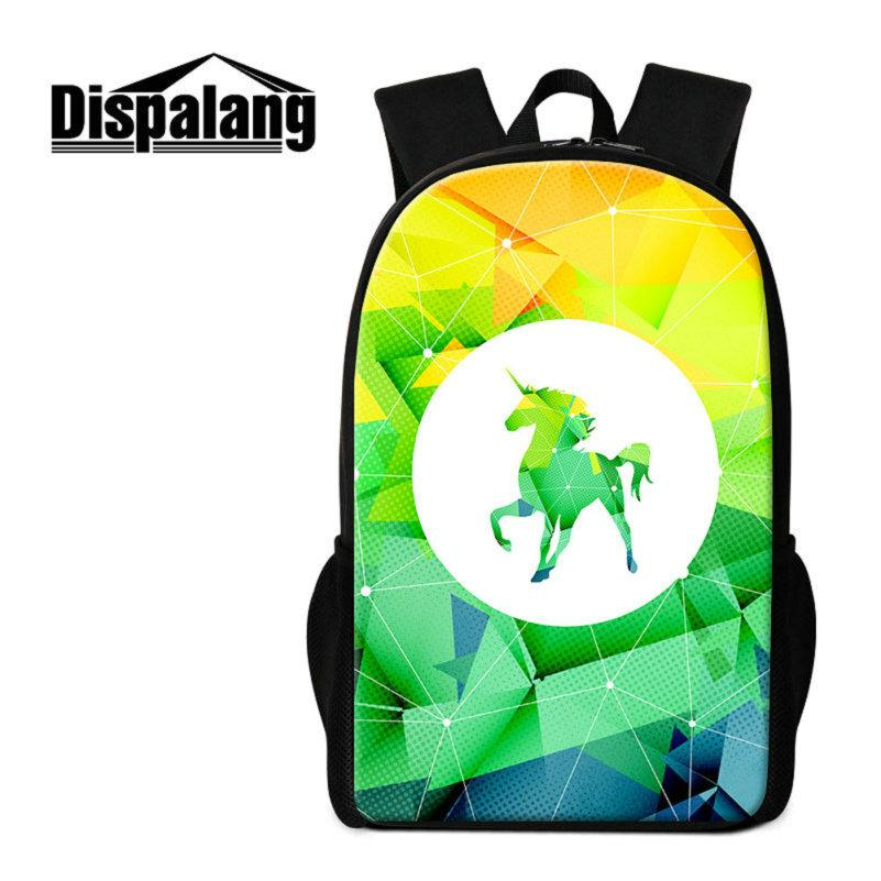 3D Printing Unicorn Backpack For Primary Girls Cartoon School Bags Animal Mochilas Women Travel Rucksack Kids Rugzak 16 Inch Student Bookbag