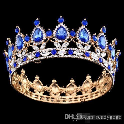 Конкурс Полный Круг Тиара Ясно Австрийские Стразы Король / Королева Корона Свадьба Корона Костюм Партии Арт-Деко