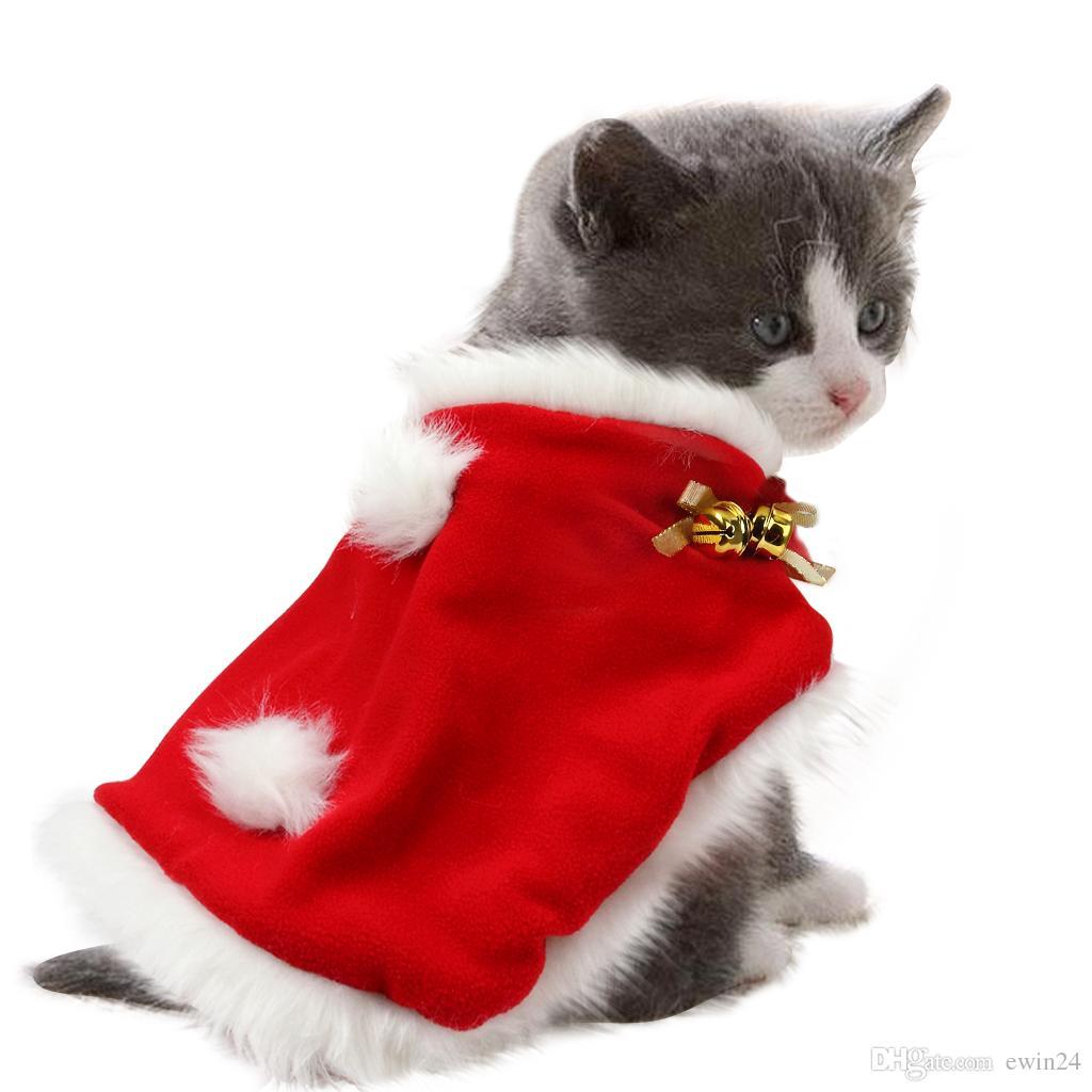 Kitten Christmas.Pet Christmas Cloak Costume Soft Thick Fabric Pet Dress Up For Puppy Kitten Small Cats Dogs Petss 30x36cm L 34x42cm Halloween Costumes Cat For Kids