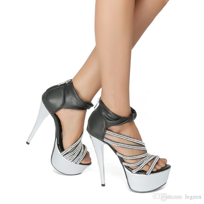 Legzen Stylish Women's Sandals Platform Open Toe Тонкие высокие каблуки Сандалии Великолепная хрустальная обувь для женщин плюс размер