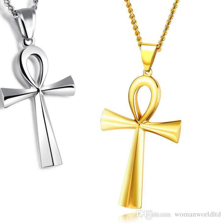 الرجال سحر كلاسيكي ستانلس ستيل للرجال سلاسل 18 كيلو مطلية بالذهب خمر تميمة الصليب قلادة القلائد مجوهرات هدايا