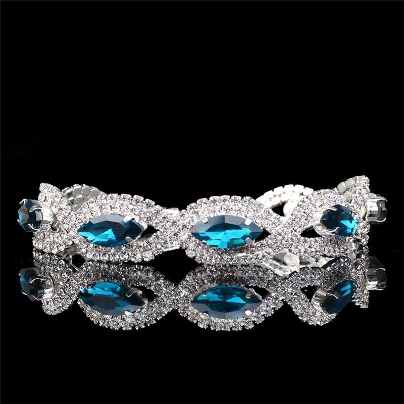 ROMAD Mode Dames Argent Plaqué Cubique Zircone Bracelets Royal Bleu Violet Pierre Bracelets Bijoux Bracelet Pour Cadeau De Mariage R4