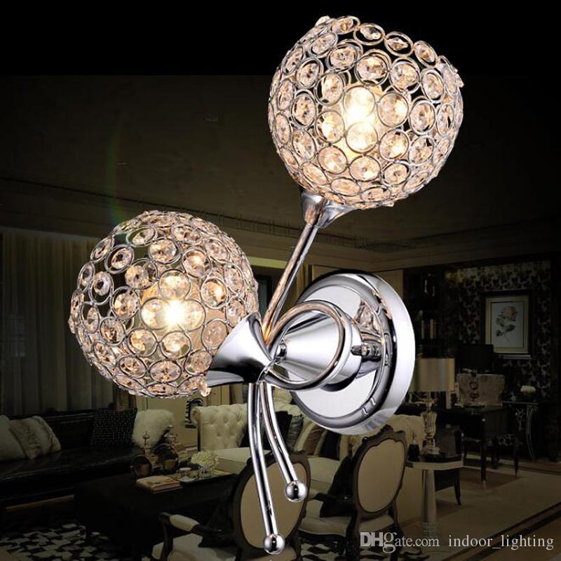 Modern K9 Cristal Pendurado Sconce Abajur De Alumínio E27 110 V 220 V Cristal Moderna Lâmpada de Parede para Decoração de Casa