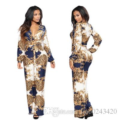 Free Ship Women Sexy Deep V-neck Leopard Print Wide Leg Jumpsuit Romper High Waisted Long Playsuit Clubwear