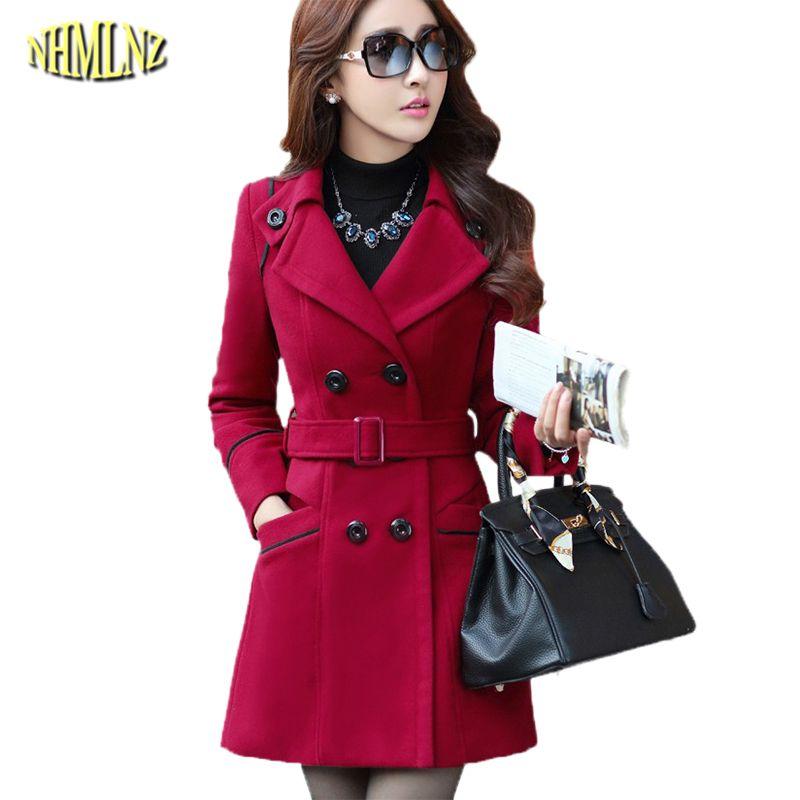 크기 새로운 가을과 겨울 의류 여성 긴 디자인의 울 코트 여성 패션 슬림 얇은 긴 블렌드 트렌치 외투 WKM494 플러스