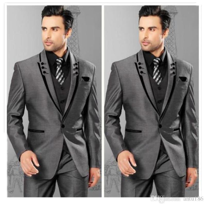 Özel moda yüksek kaliteli erkek ince lapels gri damat smokin erkek takım elbise üç parçalı takım (ceket + pantolon + yelek)