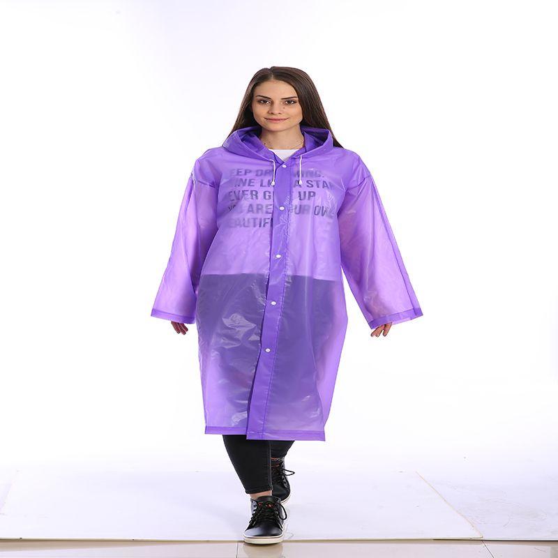 Fashion Women Men Adults EVA Environment Recycling Transparent Raincoat With Hood For Rain Coat Outdoor Rainwear Waterproof Poncho