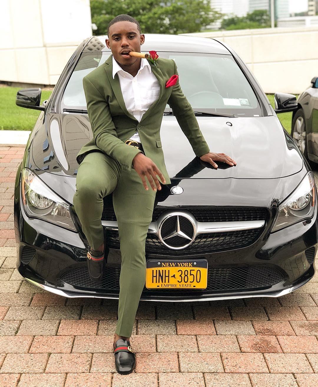 Günstige Olivgrün Herren Anzüge Slim Fit Zwei Stücke Groomsmen Hochzeit Smokings für Männer spitzen Revers formale Abschlussball-Anzug (Jacket + Pants)
