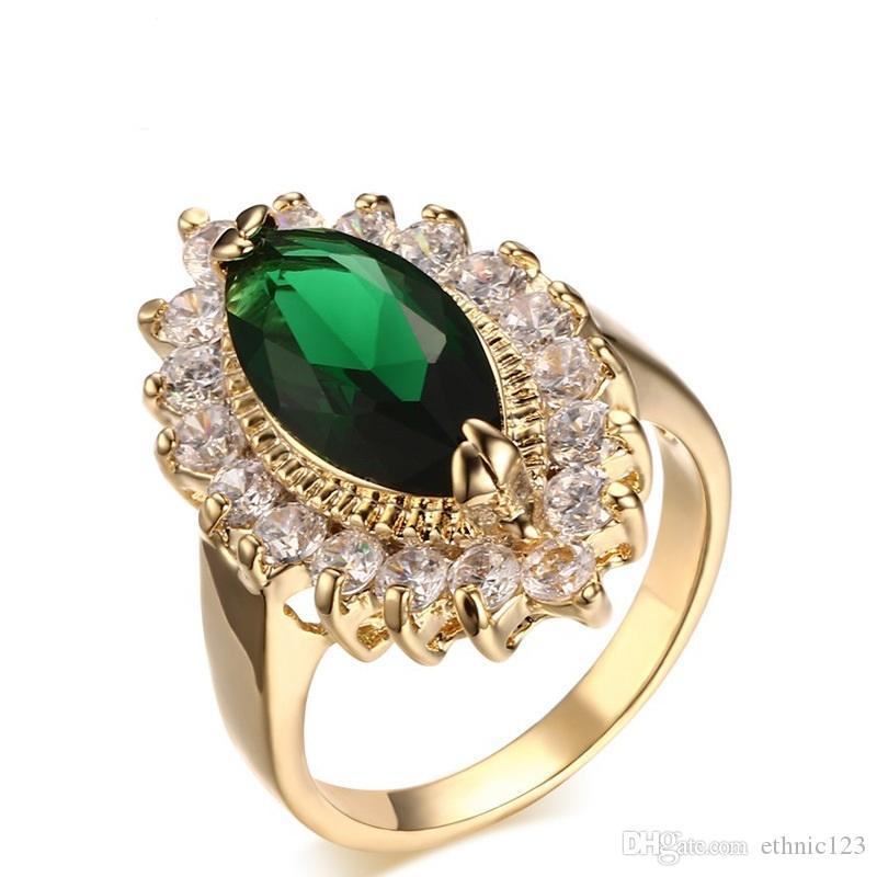 Можно смешать заказ золотой цвет мода простой Леди кольца Медный драгоценный камень Циркон кольцо ювелирные изделия подарок для женщин Девушки J008