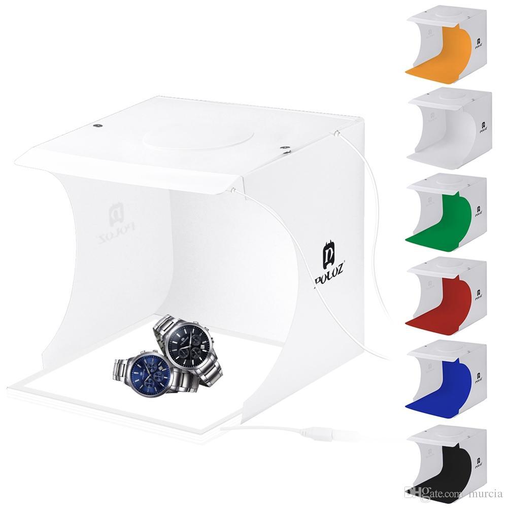 PULUZ mini LED Photo Studio Box da tavolo tiro contenitore molle di tenda di luce e 2 * Pannelli LED + 6 * Fondali