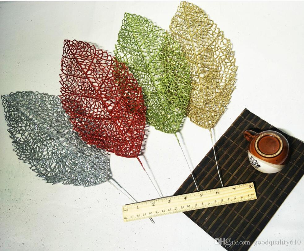 Design-4 20pcs 40cm Glitter Poudre Magnolia denudata Feuille Branche Arrangement de La Fleur Pour La Fête De Noël Arbre Venun Suspendu Décoration
