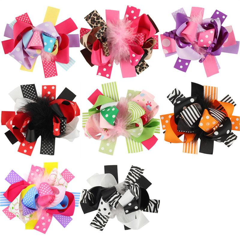 20pcs Child Girls Feather Hair Clips Ostrich Oversize Bow Accessories Princess Hairbow Gifts Kids Clips Hairpin Hair Accessories