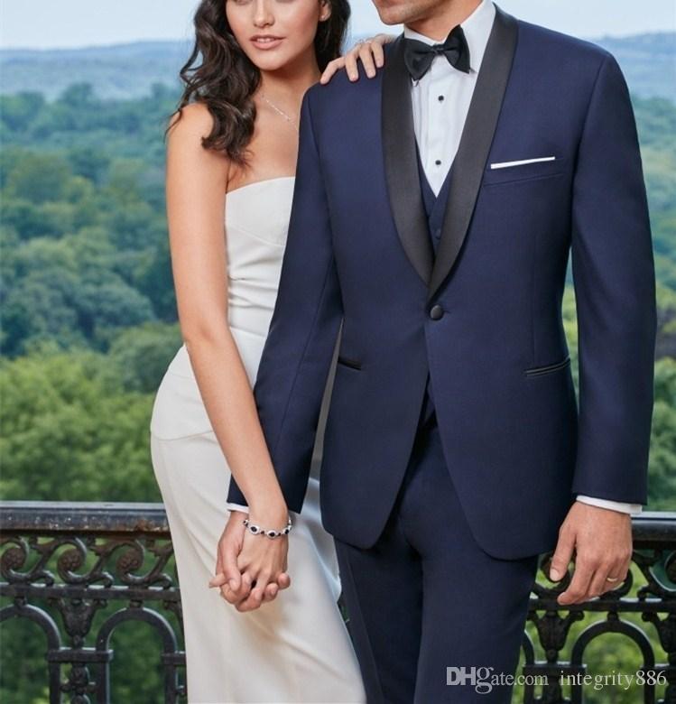 Moda azul marino 3 piezas traje hombres boda esmoquin excelente novio esmoquin alta calidad hombres cena de negocios Blazer (chaqueta + pantalones + Tie + chaleco) 462