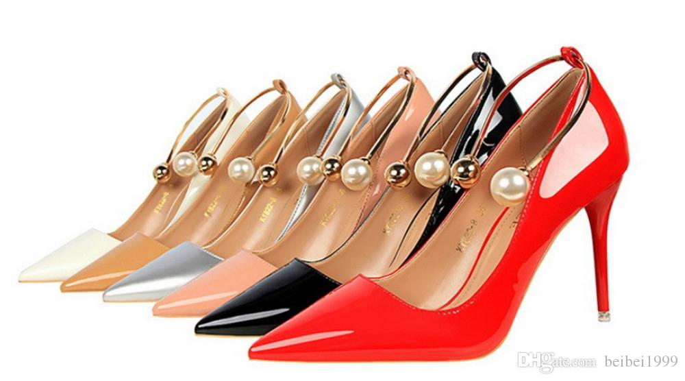 2018 Women Nude Patent Leather Poined Toe Women Pumps 90mm Fashion Red Bottom High Heels Shoes Sale Women Wedding pearl