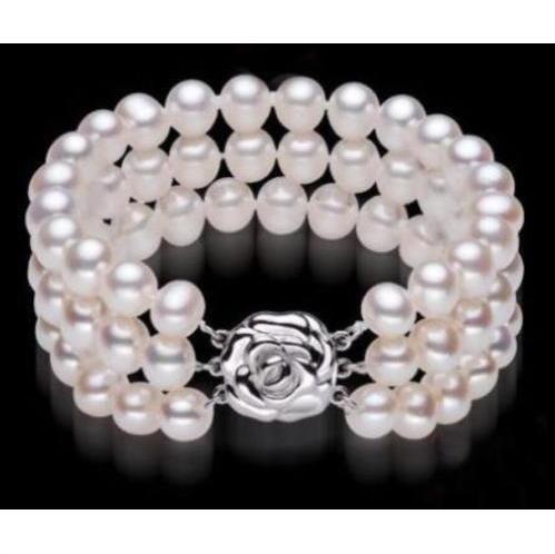 NEUF triple brin 9-10mm mer de mer blanche blanche ronde perle bracelet 7.5-8 pouces