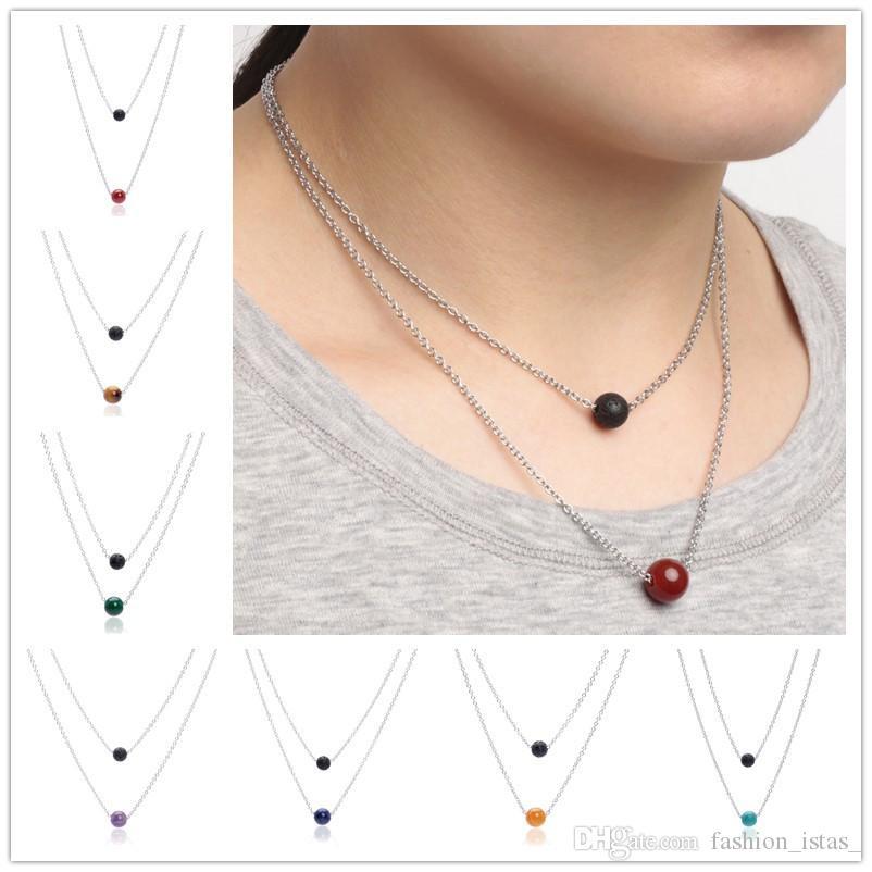 8 colores Collar de lava negro Cuentas de piedra Aromaterapia Aceite esencial Difusor Perfume de acero inoxidable Collar Joyas Mujeres