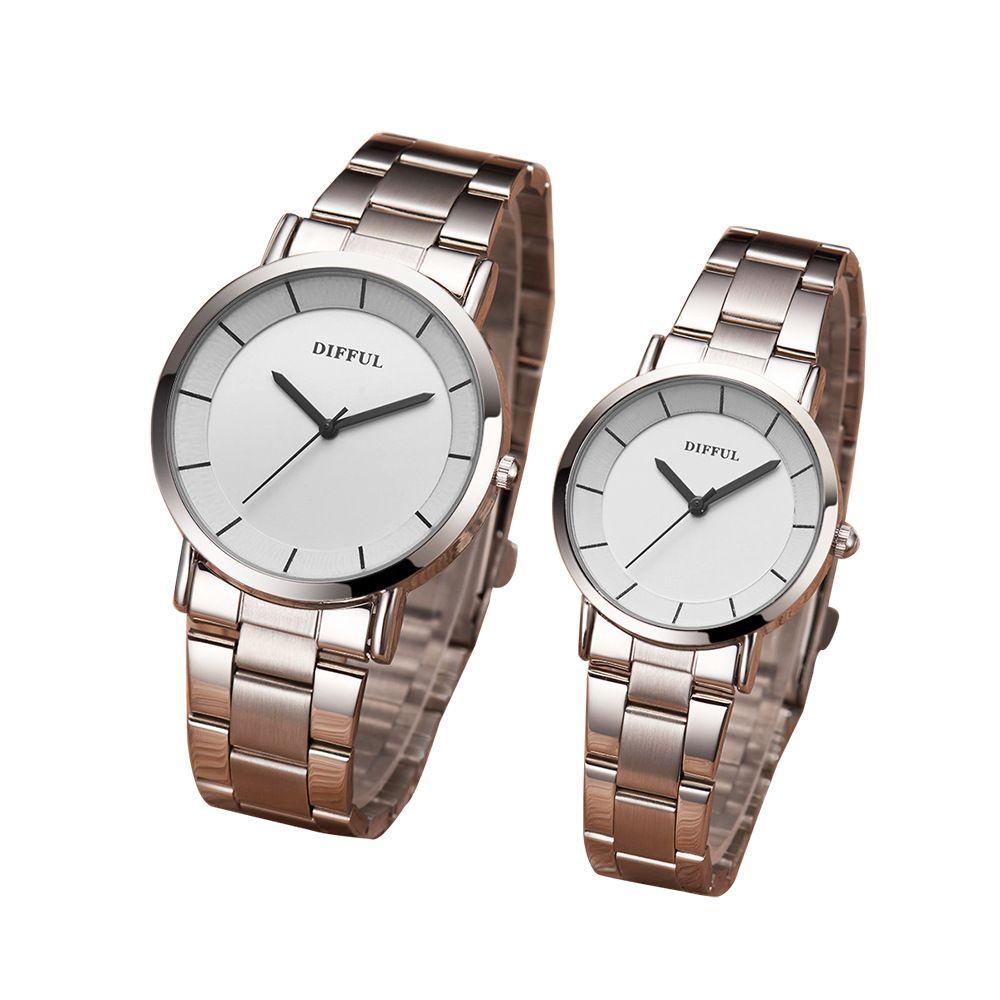 Moda romantik gümüş çift izle paslanmaz çelik erkek kadın kuvars rahat analog ince saat severler saatler