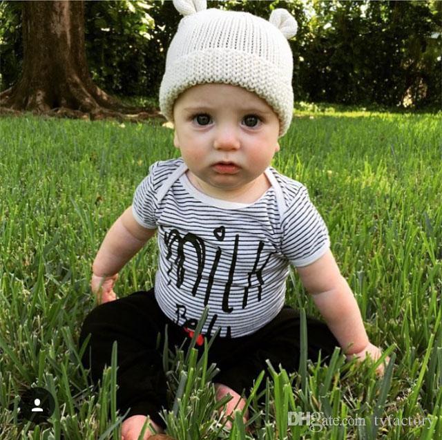 2018 bebés varones niños mamelucos onesies ropa trajes cómodos para bebés recién nacidos monos a rayas ropa de alta calidad mono lindo 0-24M