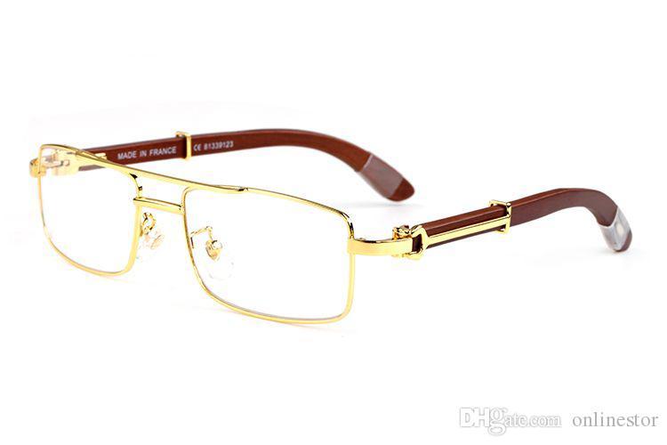 New Fashion Sunglasses For Men 2018 Sports Mens Vintage Retro Buffalo Horn Glasses For Women Double Bridge Sunglasses Clear Lens with boxes