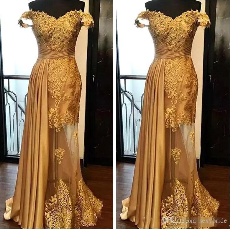 Elegant Gold Mermaid Evening Dresses Latest 2020 Lace Beaded Prom Dress Ruched Floor Length Illusion Skirt Formal Party Gowns Plus Size