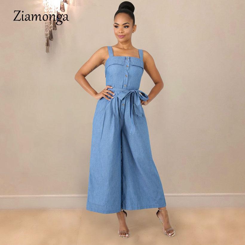 Ziamonga Frauen-Denim-Overall-Sommer-beiläufige lose breite Bein-Jeans-Overall-Bogen-Schärpen Spaghetti-Bügel-Spielanzug-Frauen-Overall
