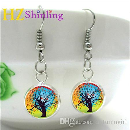 Silver Fish hook Copper Abstract Tree Earrings Charms Art Picture Tree of life Earring Handmade Jewelry