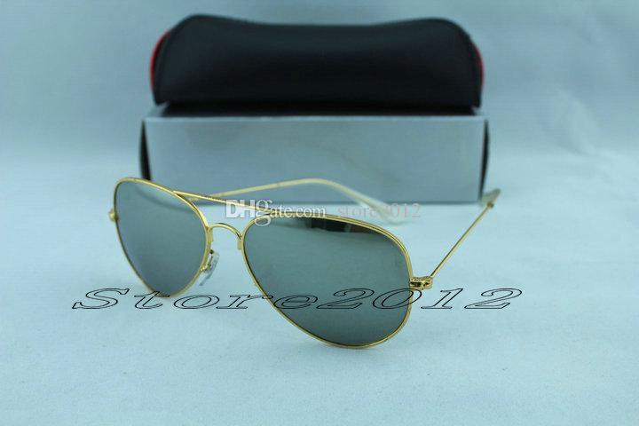 Venda quente dos homens mulheres óculos de sol 100% vidro lente de vidro óculos de sol moldura de metal de alta qualidade piloto vintage dois tamanhos espelho protetor com casos caixa nblv