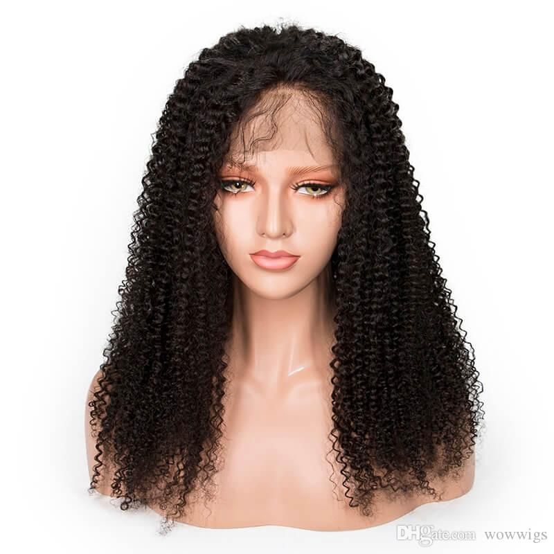 Brazilian hair Lace Front wigs Afro Curly wave Full Lace Human Hair Wigs Pre Plucked Natural Hairline with baby hair qtfn