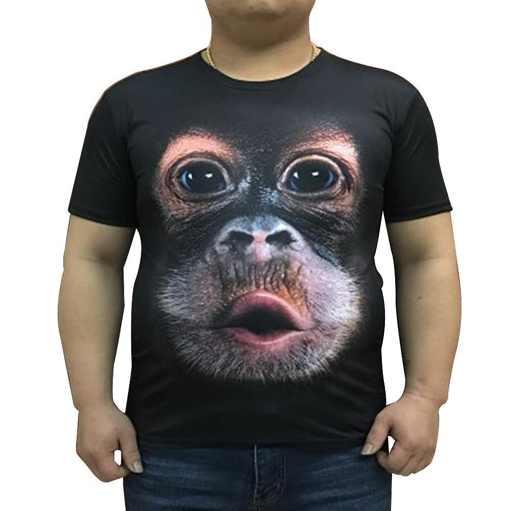 Moda de Manga Curta Homens Verão O Pescoço Macaco 3D Gorila Tee T-Shirt Casual Top Solto Plus Size S-6XL