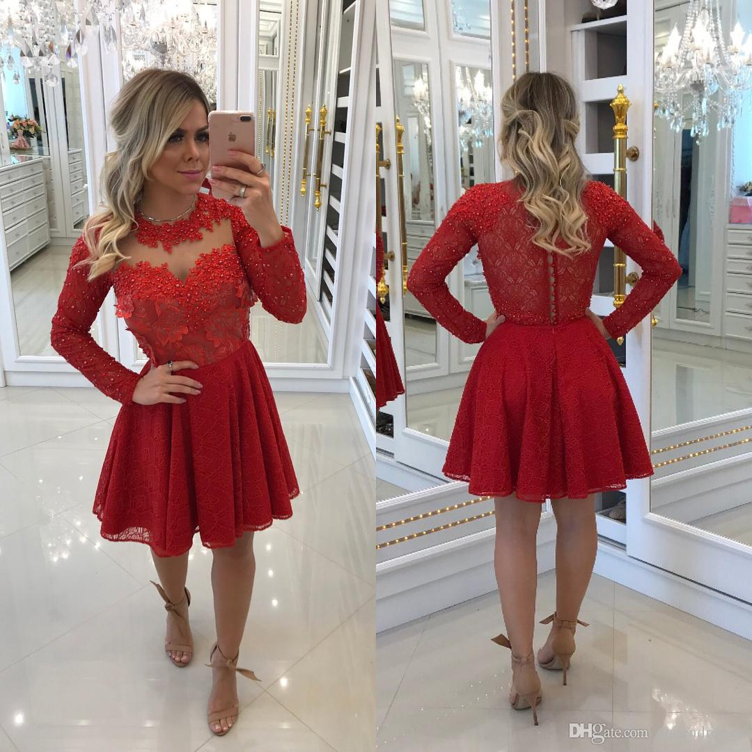 Cheap Red Long Sleeve Cocktail Party Dresses Lace A Line Beaded Mini Evening Gowns Formal Special Occasion Homecoming Dresses Abiballkleider