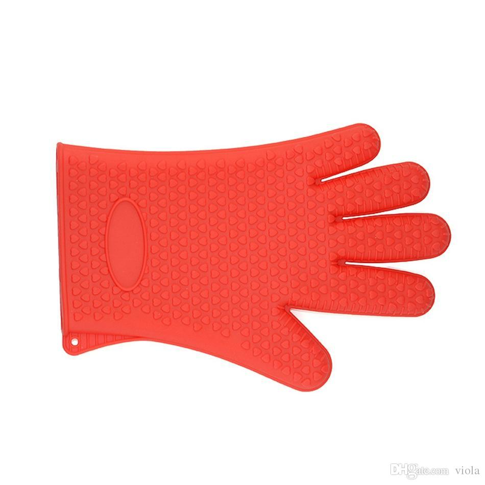 Barbecue Silicone Heat Holder Gloves Kitchen Oven Mitts Cook Microwave Resistant Gloves Pot Holder Kitchen Tools 500pcs
