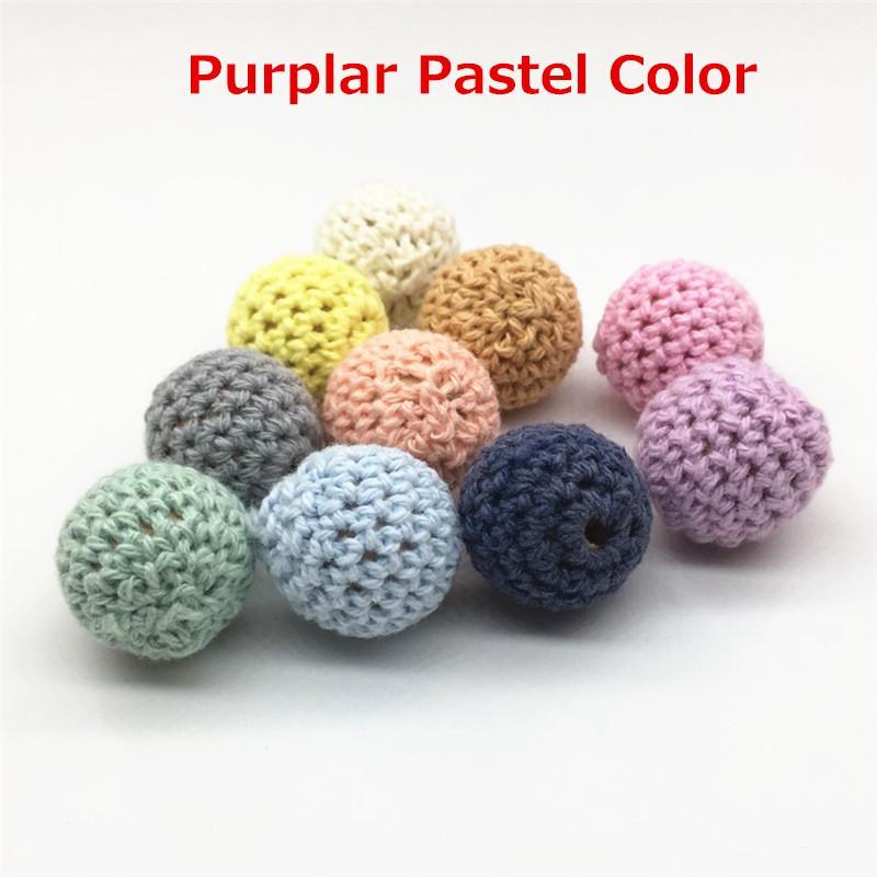 Chenkai 50pc 20mm Kniing Crochet perline di legno palle fai da te decorazione ciuccio bambino Dummy teether gioielli giocattolo sensoriale Accessroies