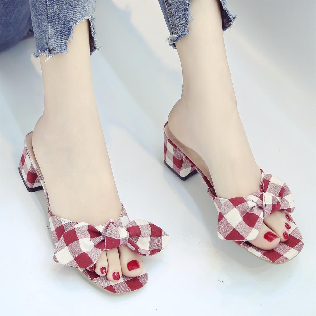2018 Estate Donna Pantofole Plaid Bow Scivoli di tela Sandali donna Tacchi alti dolci Slipper Dress Shoes Zapatos Mujer