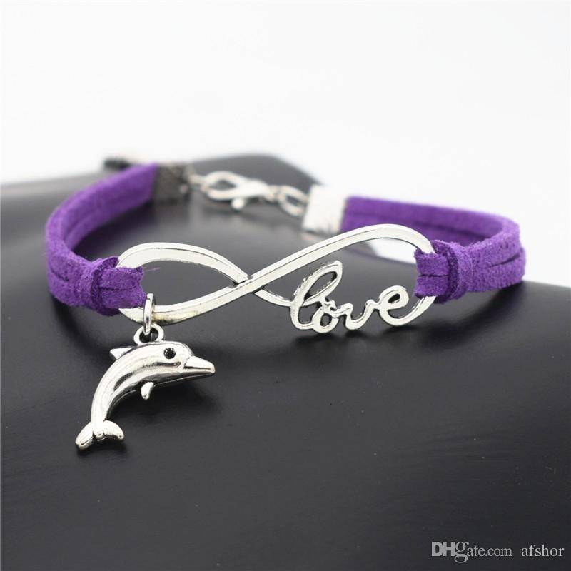 High Quality Vintage Silver Plated Infinity Love Dolphin Pendant Bracelets For women men Fit Purple Leather Chain Charm Bangles DIY Jewelry