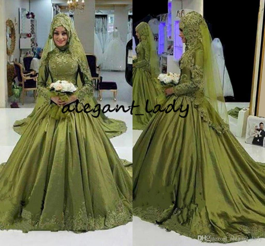 Army Hunter Green Muslim Wedding Dresses with Long Sleeve 2018 Modest High Neck Lace Applique Middle East Arabic Church Wedding Gown