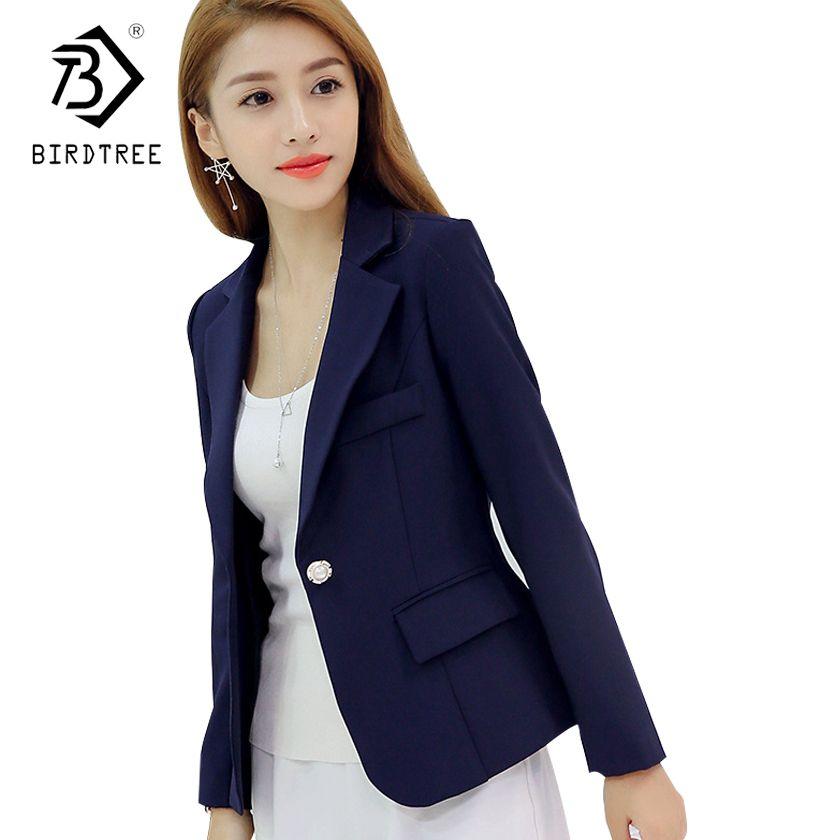 Nuovi Prodotti 99908 a97f9 Acquista 2018 New Fashion Basic Giacca Blazer Donna Blu Navy Borgogna Suit  Primavera Donna Button One Cappotti Casual Blazer Femminile C81110L A ...