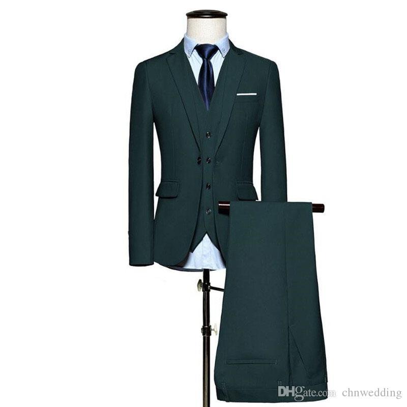 Niestandardowe Slim Fit Green Men Garnitury Ślub Groom Tuxedos 3 sztuki (kurtka + spodnie + kamizelka) Bardzo