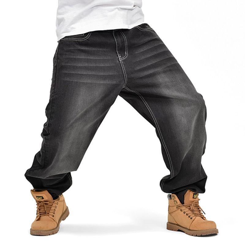2017 Mens Hip Hop Baggy Loose Jeans Negro Denim Printed Jeans Skateboard Pants para Hombres Street Dance Trousers 30-46