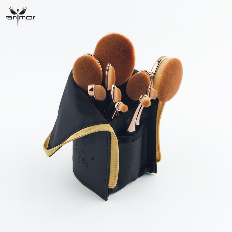 مجموعة فرش مكياج أنمور بروفيشنال 10 قطع من الذهب الوردي البيضاوي مع مجموعة من الفرش السوداء الناعمة